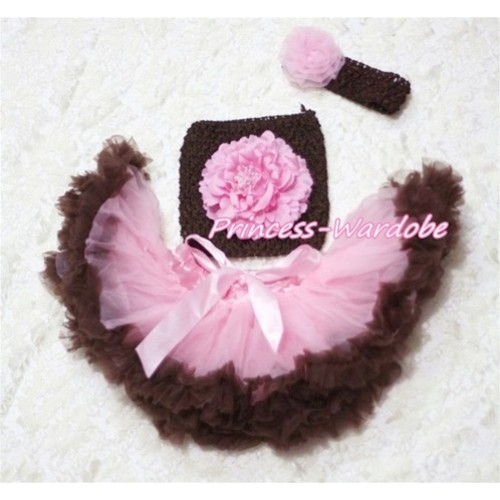 Pink Brown Baby Pettiskirt, Pink Peony Brown Crochet Tube Top, Brown Headband, Pink Rose 3PC Set CT170