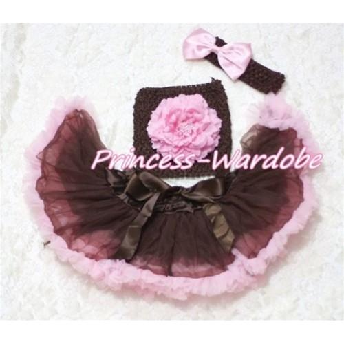 Brown Pink Baby Pettiskirt, Light Pink Peony Brown Crochet Tube Top, Brown Headband Pink Bow 3PC Set CT171
