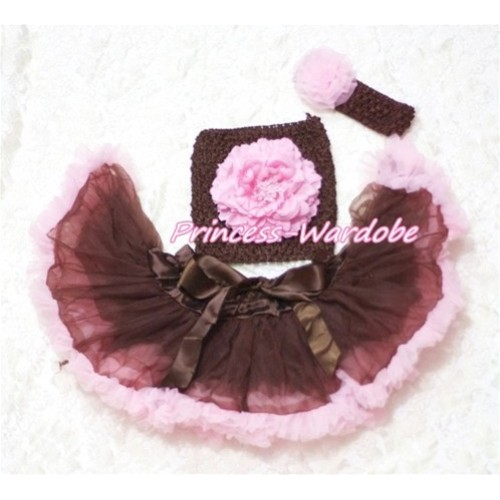 Brown Pink Baby Pettiskirt, Pink Peony Brown Crochet Tube Top, Brown Headband Pink Rose 3PC Set CT172