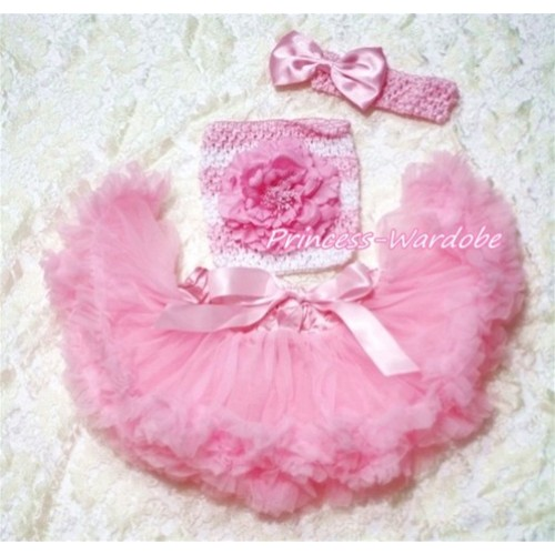 Light Pink Baby Pettiskirt, Pink Peony Pink White Crochet Tube Top, Pink Bow Headband 3PC Set CT176