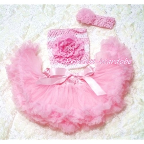 Light Pink Baby Pettiskirt, Light Pink Peony Pink White Crochet Tube Top, Pink Rose Headband 3PC Set CT177