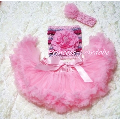 Light Pink Baby Pettiskirt, Pink Peony Pink Fusion Mixed Crochet Tube Top, Light Pink Rose Headband 3PC Set CT192