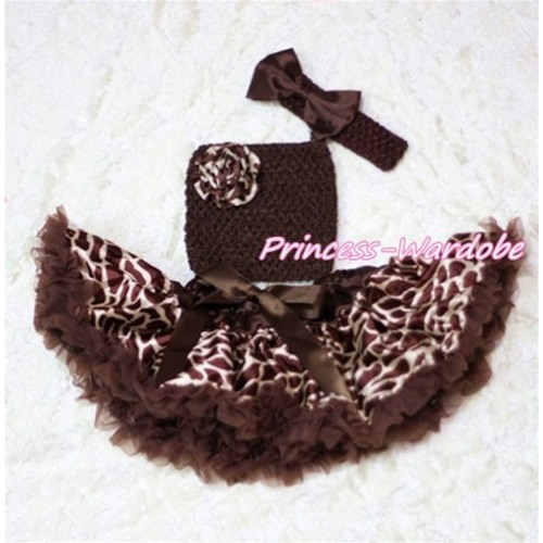 Brown Giraffe Baby Pettiskirt, Giraffe Rose Brown Crochet Tube Top, Brown Bow Headband 3PC Set CT201