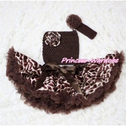 Brown Giraffe Baby Pettiskirt, Giraffe Rose Brown Crochet Tube Top, Brown Rose Headband 3PC Set CT202