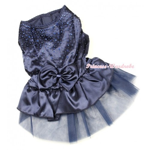 Dark Blue Sparkle Crystal Glitter Satin Dress Bow Gauze Skirt Sleeveless Pet Dress DC004