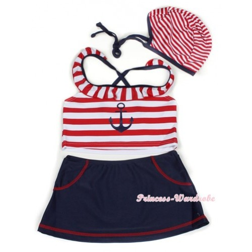 Red White Striped Navy Sailor Mariner Swimming Suit with Cap SW67