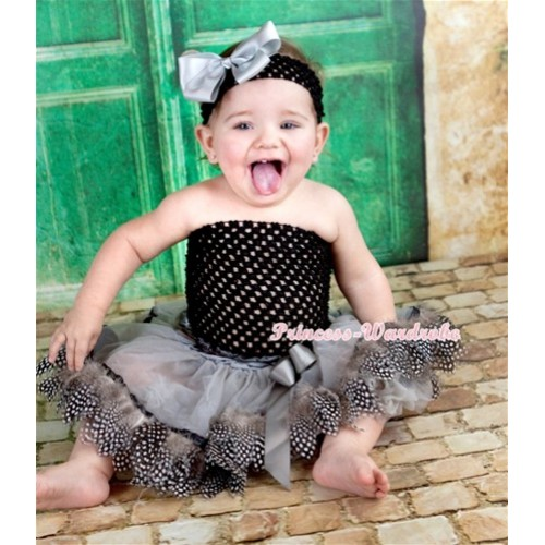 Black Crochet Tube Top with Silver Grey Feather Baby Pettiskirt ,Black Headband Grey Silk Bow CT586