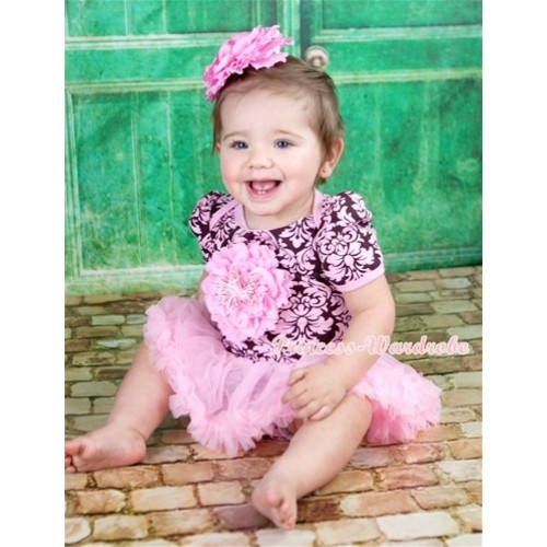 Light Pink Damask Baby Jumpsuit Light Pink Pettiskirt With Light Pink Peony With Light Pink Peony Hair Clip JS1117