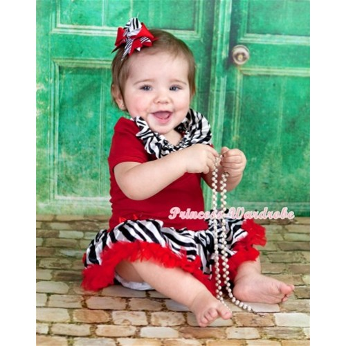 Red Baby Jumpsuit Red Zebra Pettiskirt With Zebra Satin Lacing With Red Zebra Screwed Ribbon Bow JS1119