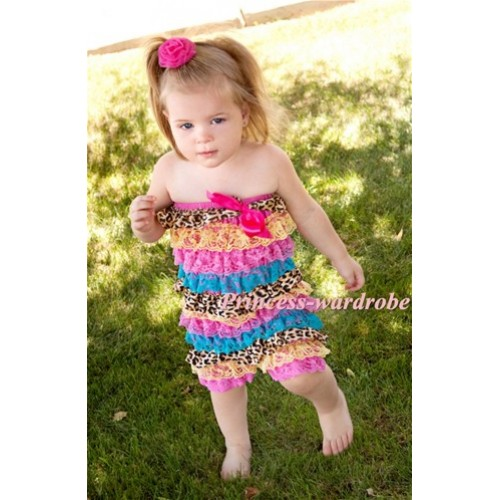 Rainbow Leopard Layer Chiffon Romper with Hot Pink Bow LR94