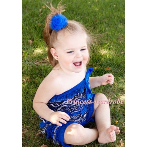Zebra  Royal Blue Lace Layer Chiffon Romper with Royal Blue Bow LR85