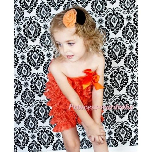Orange Layer Chiffon Romper with Orange Bow LR87