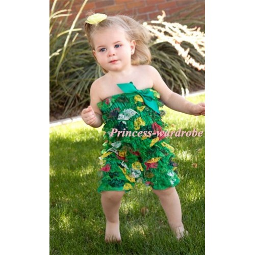 Xmas Tree Layer Chiffon Romper with Green Bow LR92