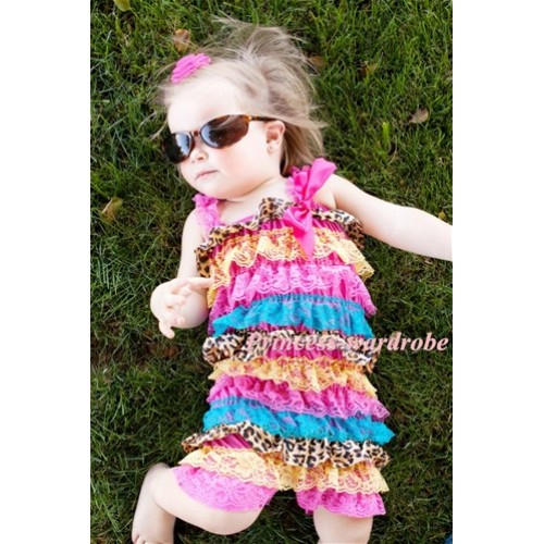 Rainbow Leopard Layer Chiffon Romper with Hot Pink Bow & Hot Pink Straps LR84