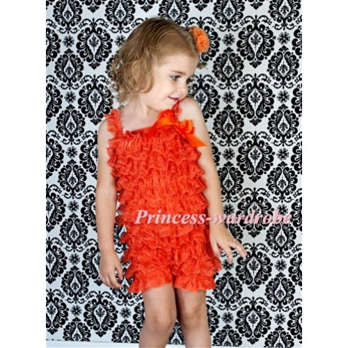 Orange Layer Chiffon Romper with Orange Bow & Orange Straps LR77