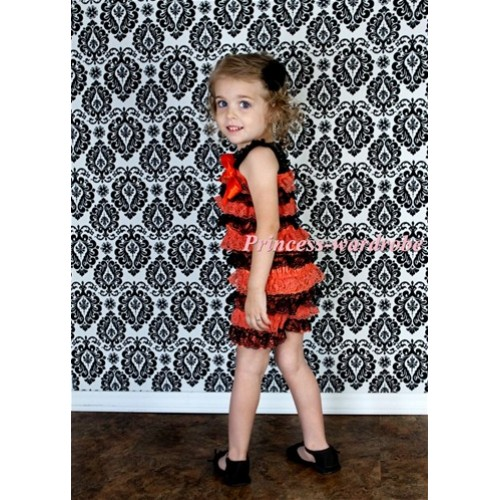 Halloween Orange Black Layer Chiffon Romper with Orange  Bow & Orange Straps LR78