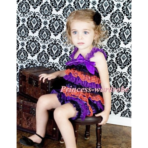 Halloween Purpe Dark Orange Layer Chiffon Romper with Purple  Bow & Purple Straps LR79