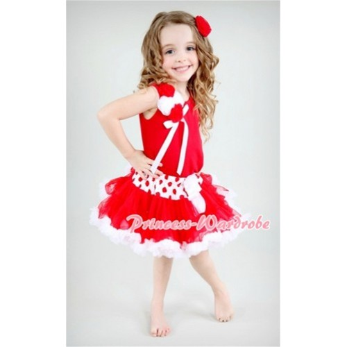 Red White Polka & Minnie Dot Waist Pettiskirt with a Bunch of Red White Rosettes and White Bow Red Tank Top M401