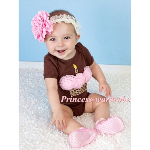 Brown Baby Jumpsuit with Pink Leopard Birthday Cupcake TH144