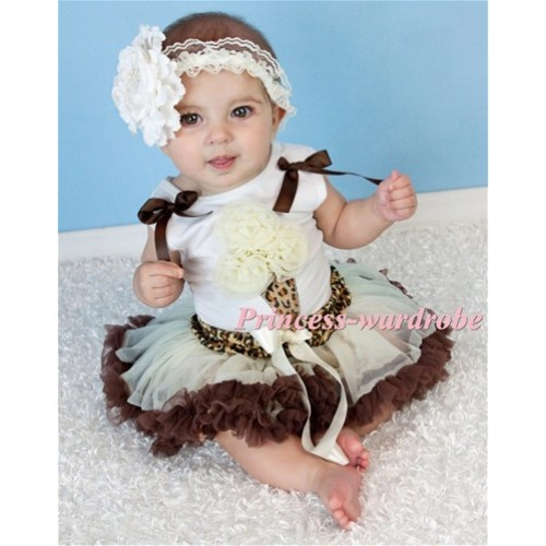 White Baby Pettitop & Cream White Rosettes Leopard Ice Cream & Ruffles & Bows With Leopard Waist Cream White Brown Baby Pettiskirt NS01
