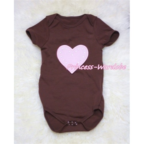 Brown Baby Jumpsuit with Light Pink Heart TH148