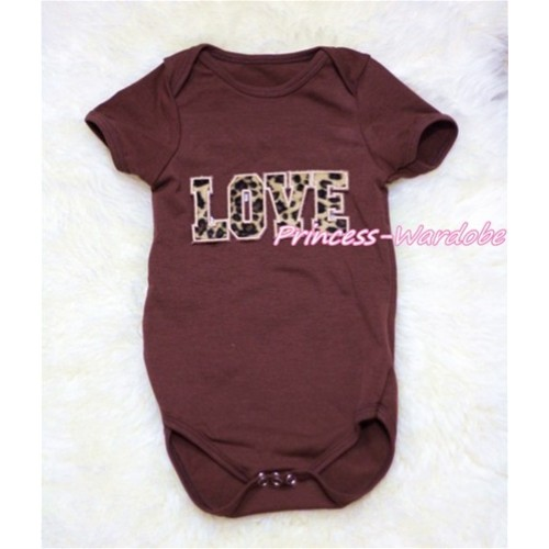 Brown Baby Jumpsuit with Leopard Love Print TH149