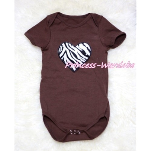 Brown Baby Jumpsuit with Zebra Heart Print TH151