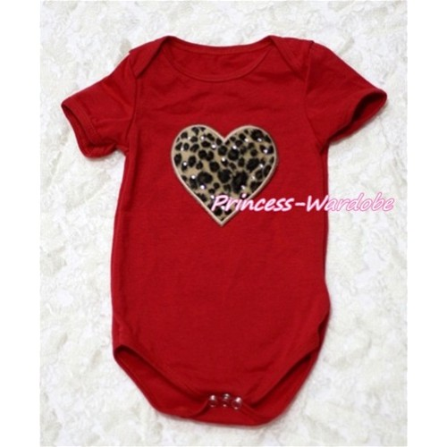 Hot Red Baby Jumpsuit with Leopard Heart Print TH124