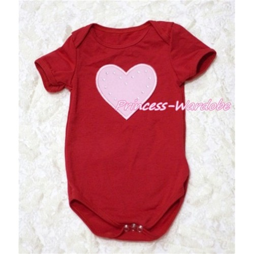 Hot Red Baby Jumpsuit with Light Pink Heart Print TH127