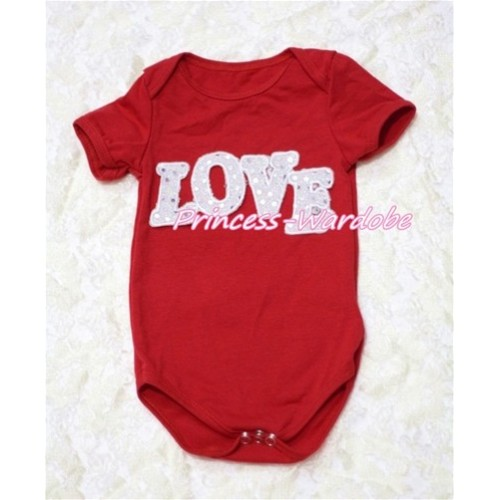 Hot Red Baby Jumpsuit with Sparkle Love Print TH129