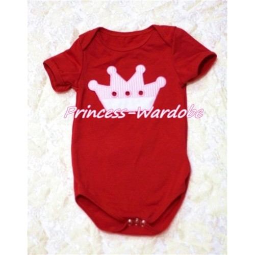 Hot Red Baby Jumpsuit with Crown Print TH160