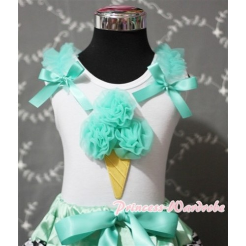 Aqua Blue Ice Cream White Tank Top with Aqua Blue Ruffles and Aqua Blue Ribbon TS351