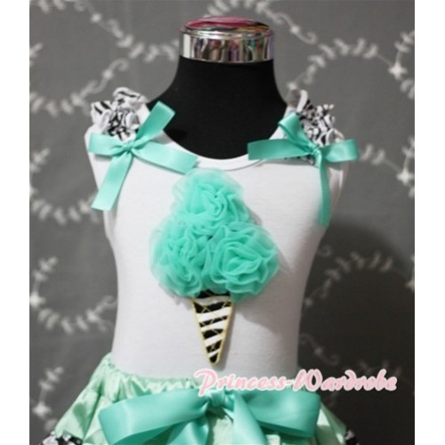 Aqua Blue Zebra Ice Cream White Tank Top with Zebra Ruffles and Aqua Blue Ribbon TS352