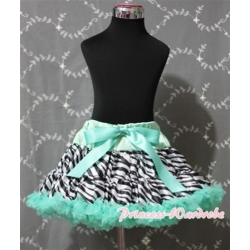 Aqua Blue Zebra Full Pettiskirt P130