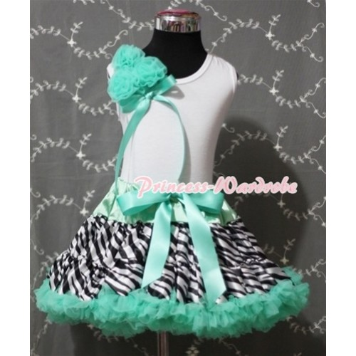 Aqua Blue Zebra Pettiskirt with Bunch of Aqua Blue Rosettes with Ribbon White Tank Top MG402