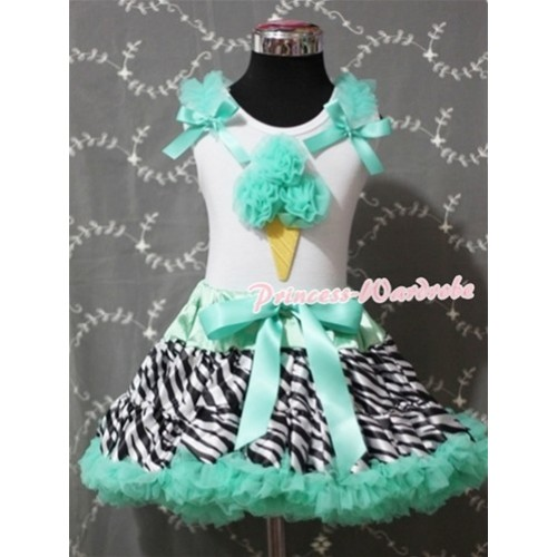 Aqua Blue Zebra Pettiskirt With Aqua Blue Ice Cream White Tank Top and Aqua Blue Ruffles and Bows MS321