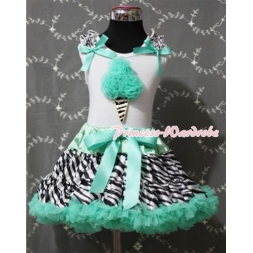 Aqua Blue Zebra Pettiskirt With Aqua Blue Rosettes Zebra Ice Cream White Tank Top With Zebra Ruffles & Aqua Blue Bows MT045