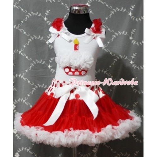 Red White Polka Dots Waist Pettiskirt With White Rosettes Minnie Dots Birthday Cake White Tank Top and Red Ruffles& White Bow SC083