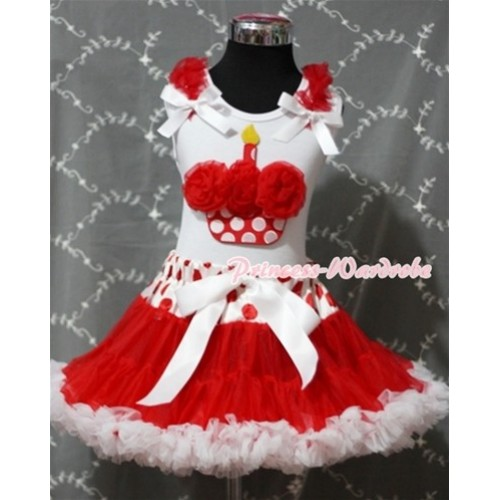 Red White Polka Dots Waist Pettiskirt With Red Rosettes Minnie Dots Birthday Cake White Tank Top and Red Ruffles& White Bow SC084