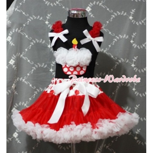 Red White Polka Dots Waist Red White Pettiskirt With White Rosettes Minnie Dots Birthday Cake Black Tank Top and Red Ruffles White Bows MW91