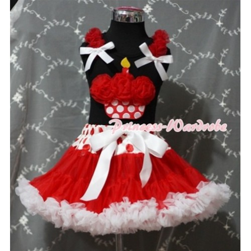 Red White Polka Dots Waist Red White Pettiskirt With Red Rosettes Minnie Dots Birthday Cake Black Tank Top and Red Ruffles White Bows MW92