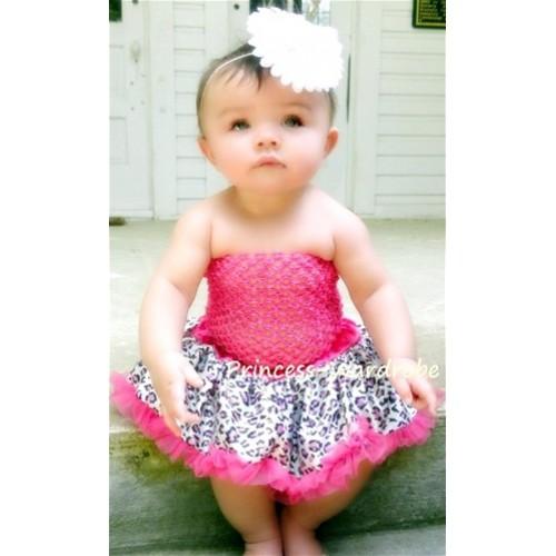 Hot Pink Crochet Tubetop & Hot Pink Leopard Baby Pettiskirt CT10