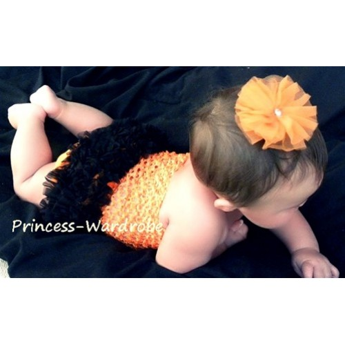 Orange Crochet Tube Top, Orange Black Bloomer CT21