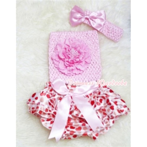 Pink Giant Bow Cream Hearts Bloomer, Pink Peony Pink Crochet Tube Top, Pink Headband Bow 3PC Set CT206