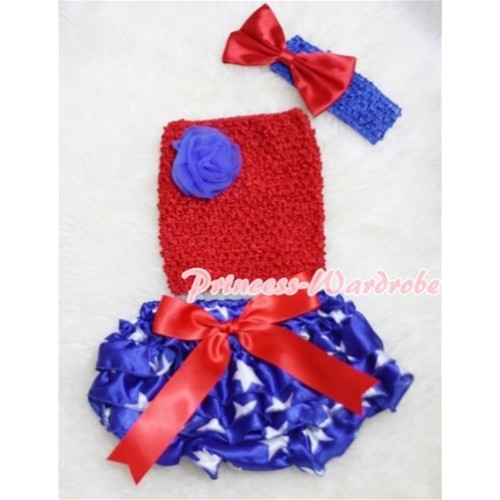 Red Giant Bow Patriotic Star Bloomer, Royal Blue Rose Red Crochet Tube Top, Royal Blue Headband Red Bow 3PC CT211