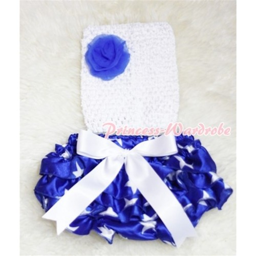 White Crochet Tube Top, White Giant Bow Patriotic Star Bloomer, Royal Blue Rose 3PC CT207