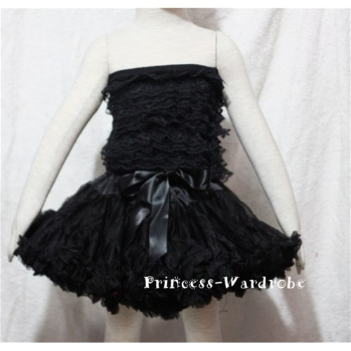 Black Lace Tube Top with matching Black Pettiskirt TE12