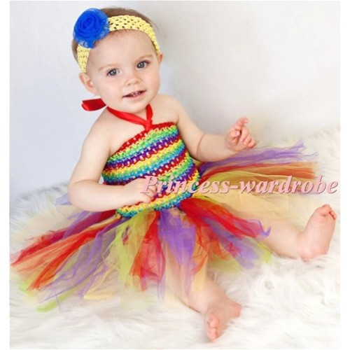 X'mas Red Rainbow Crochet Tube Top with Matched Knotted Tulle Tutu HT11