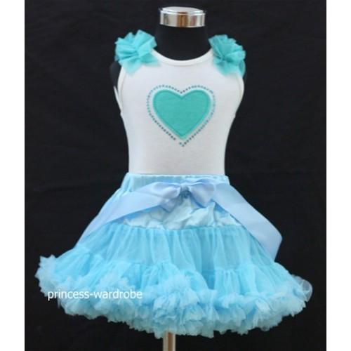 Light Blue Pettiskirt with Light Blue Heart Crystal & Ruffles White Tank Top M74