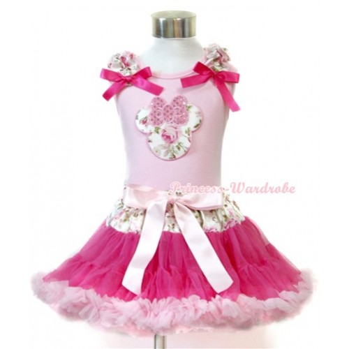 Light Pink Tank Top with Sparkle Light Pink Rose Minnie Print with Light Pink Rose Fusion Ruffles & Hot Pink Bow With Light Pink Rose Fusion Waist Hot Light Pink Pettiskirt M517